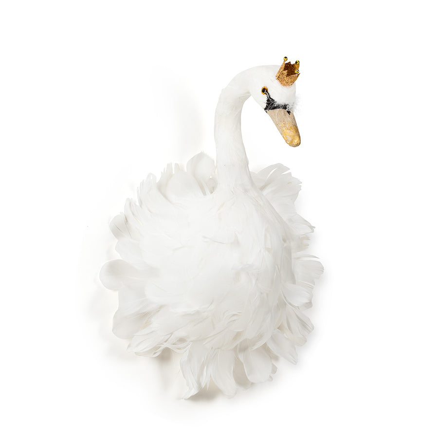 White Feather Swan with Crown - Medium