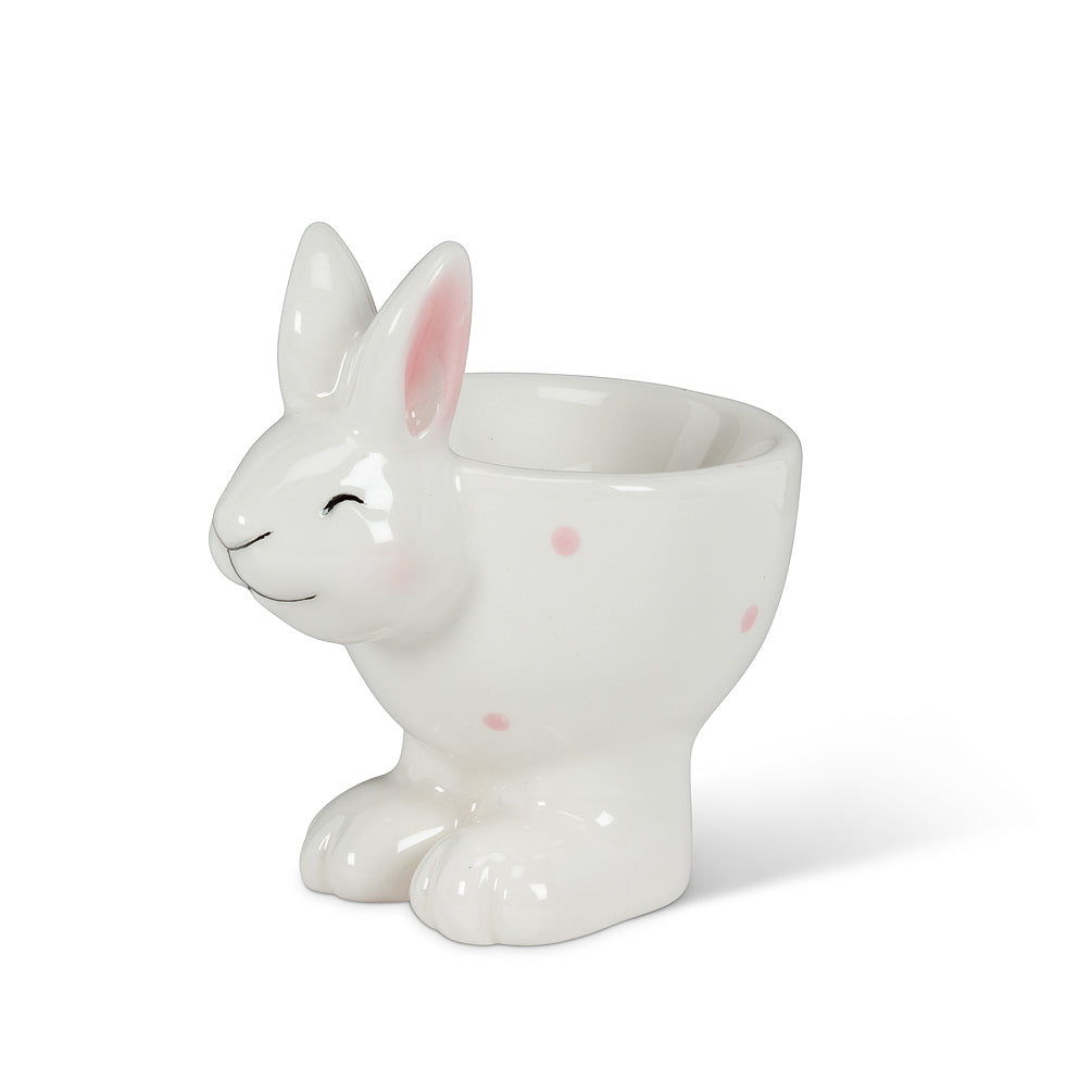 Polka Dot Bunny Egg Cup, AC-Abbott Collection, Putti Fine Furnishings