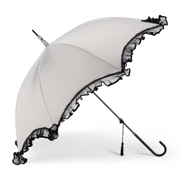 Taupe Umbrella with Frilly Lace -  Personal Accessories - Abbot Collection - Putti Fine Furnishings Toronto Canada - 1
