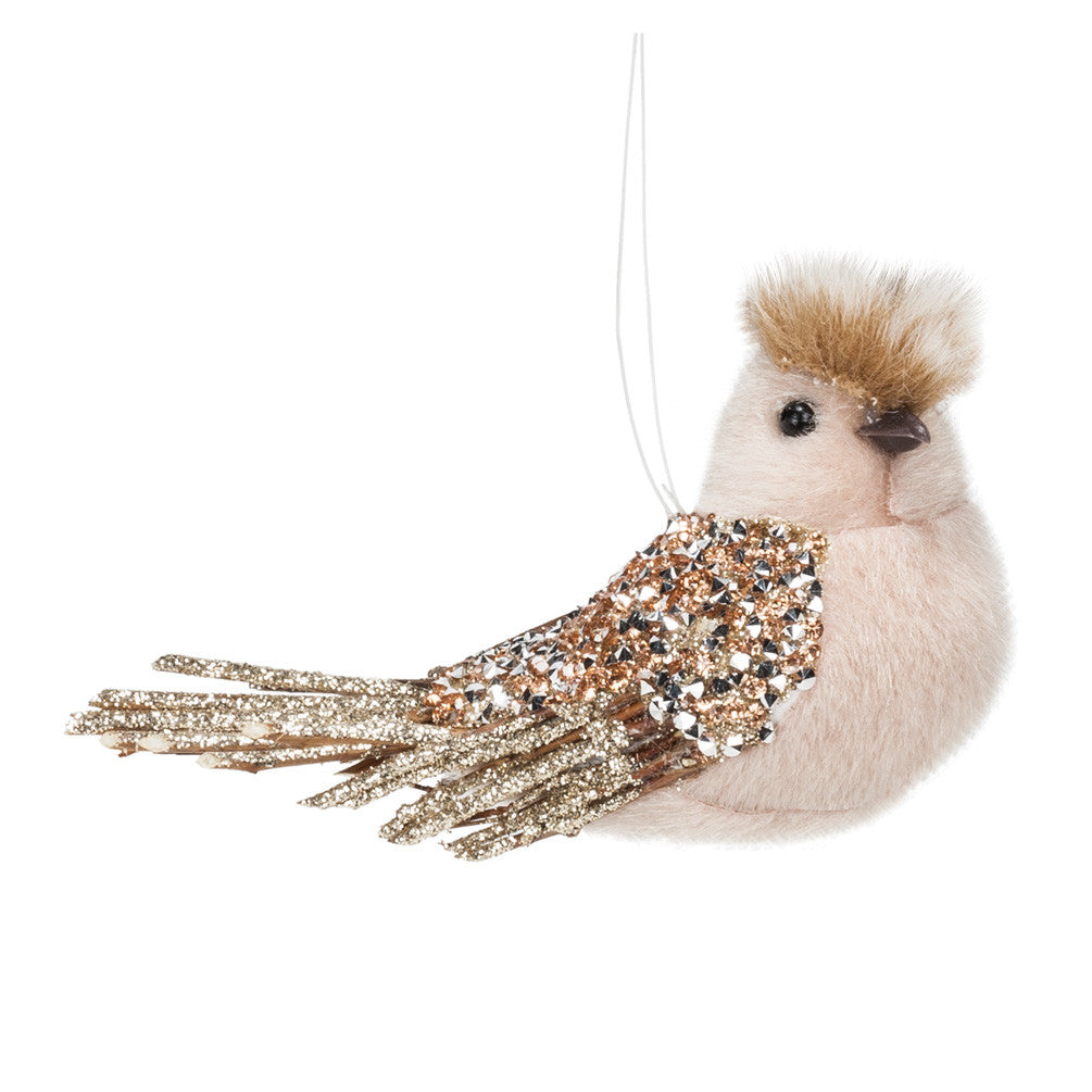 Champagne Glitter Bird Ornament -  Christmas - AC-Abbot Collection - Putti Fine Furnishings Toronto Canada