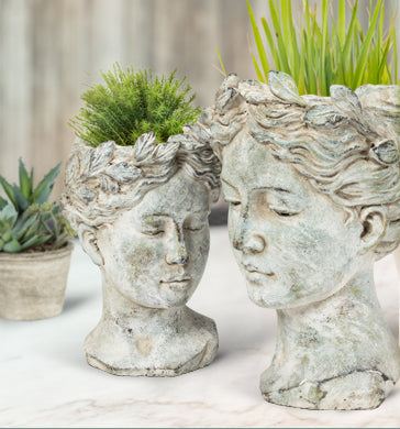 Woman Head Planter - Large, AC-Abbot Collection, Putti Fine Furnishings