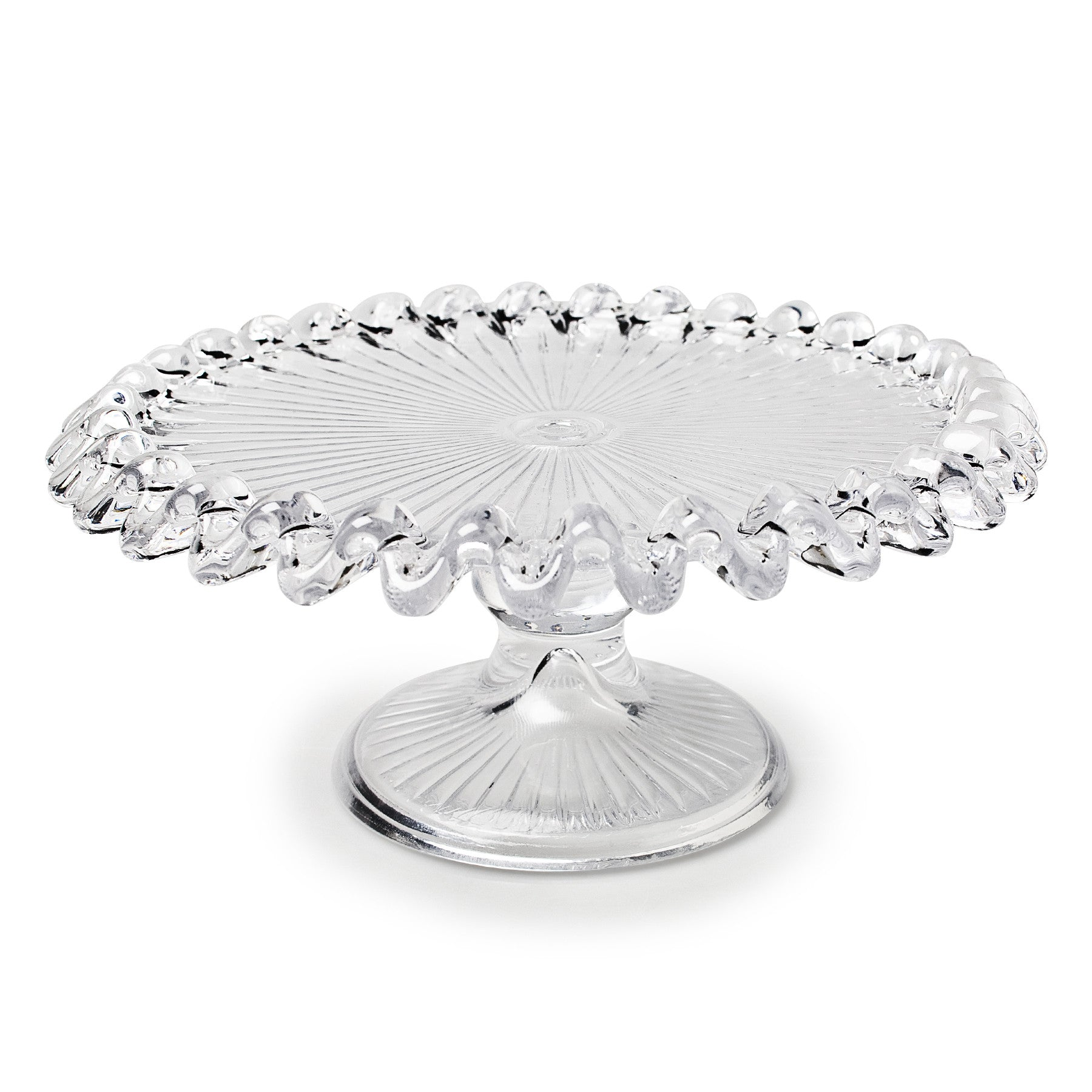 Small Glass Pedestal Plate with Ruffle Edge, AC-Abbott Collection, Putti Fine Furnishings