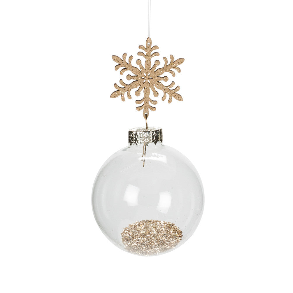 Snowflake and Ball Ornament with Gold Dust -  Christmas Decorations - AC-Abbot Collection - Putti Fine Furnishings Toronto Canada