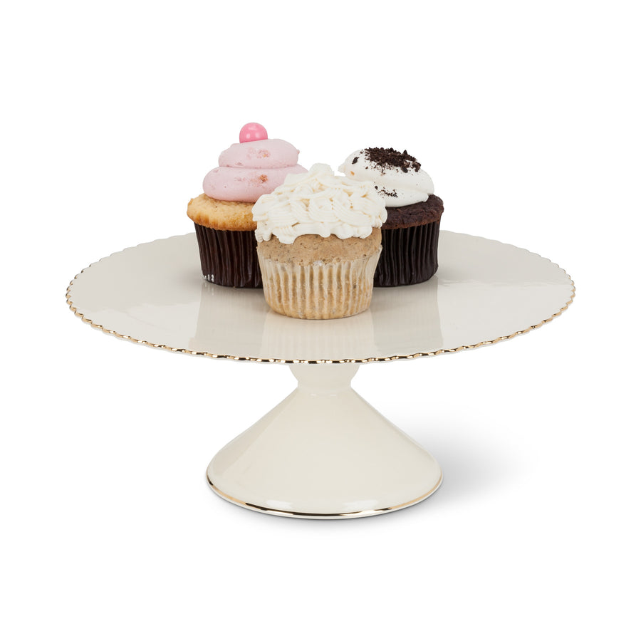 Gold Rim Pedestal Cake Stand - Medium