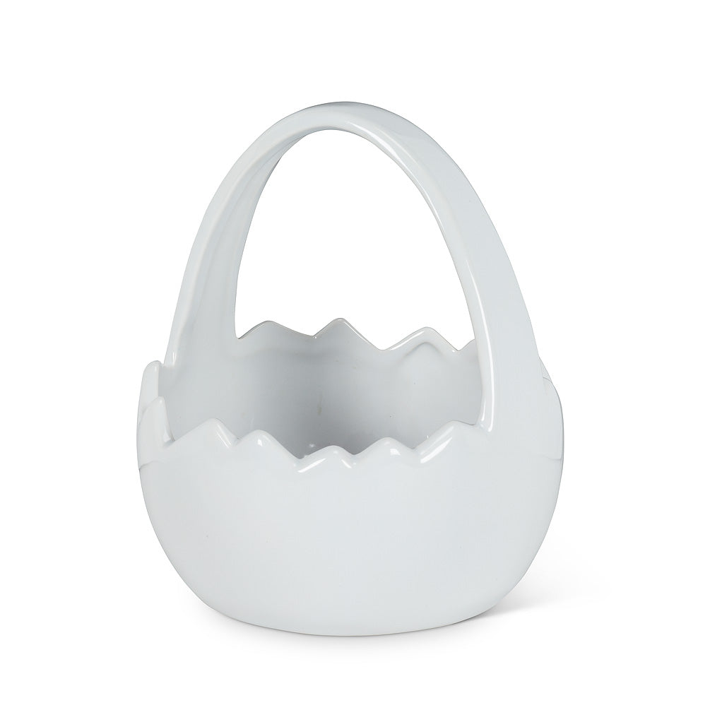White Egg Basket Planter | Putti Fine Furnishings Canada