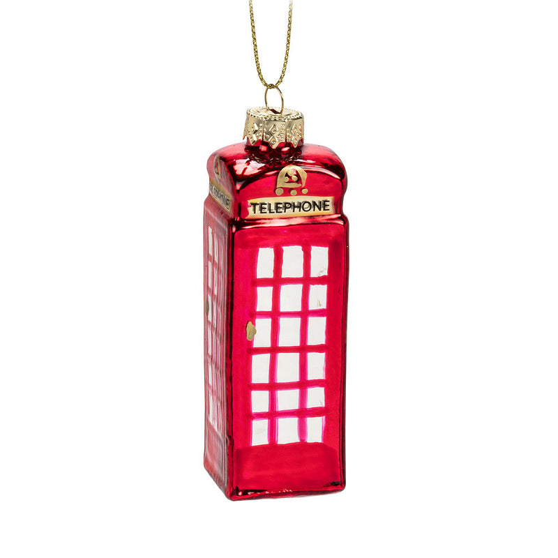British Telephone Booth Glass Ornament - Small