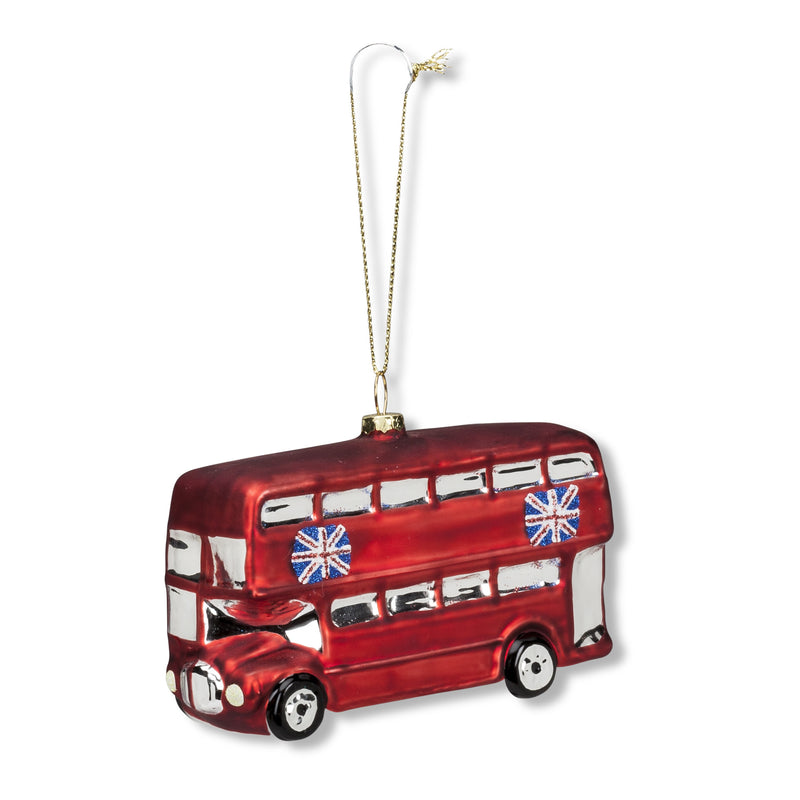 London Bus Glass Ornament -  Christmas - AC-Abbott Collection - Putti Fine Furnishings Toronto Canada