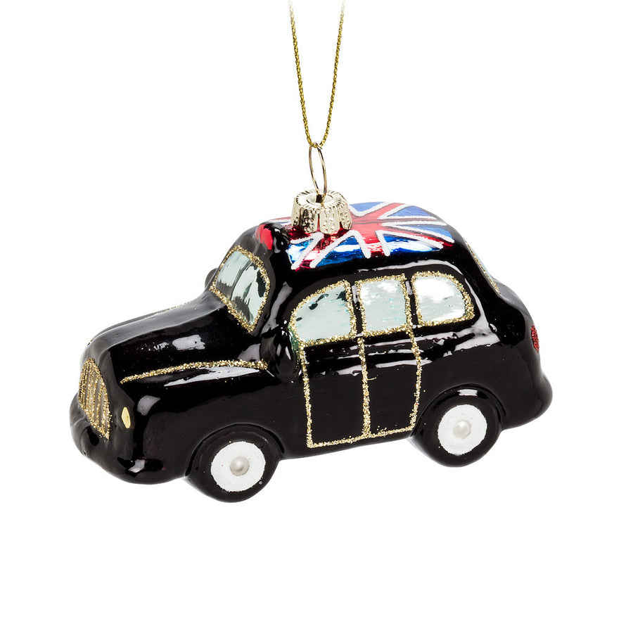 London Cab Glass Ornament