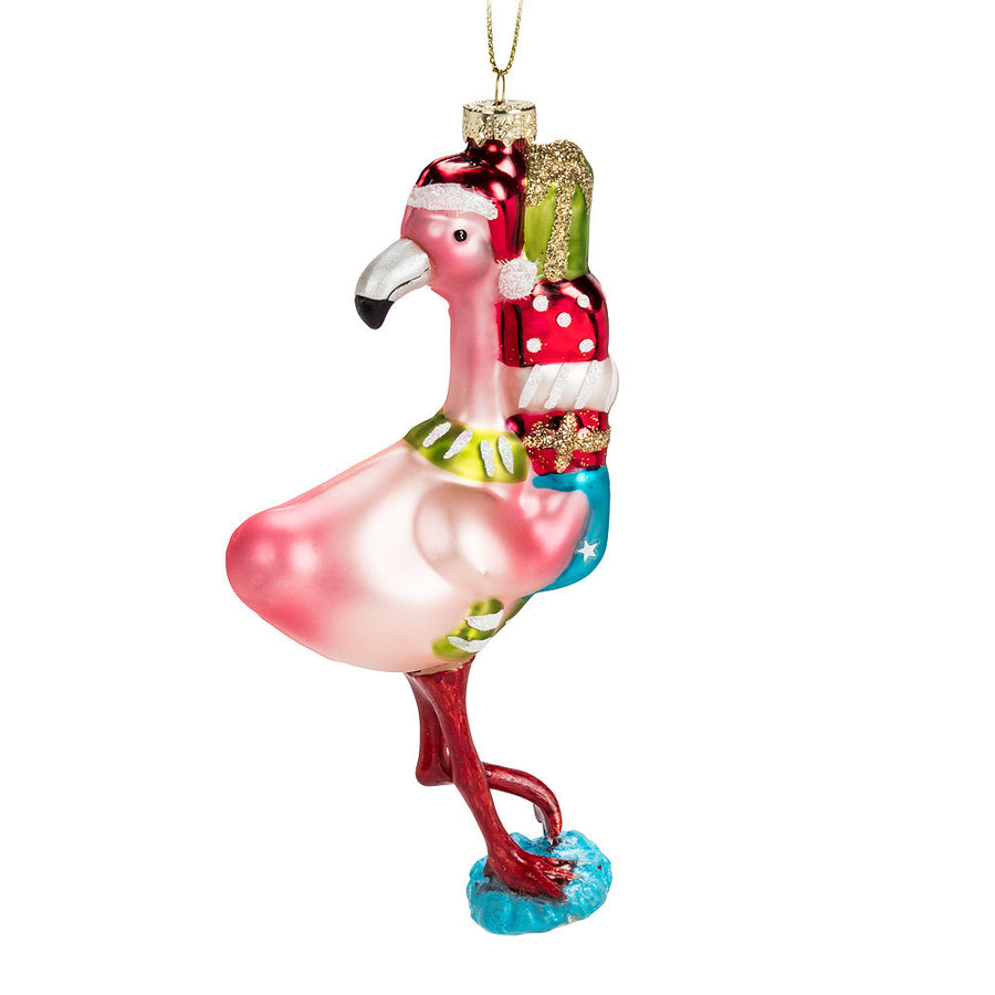 Flamingo with Gifts Glass Ornament