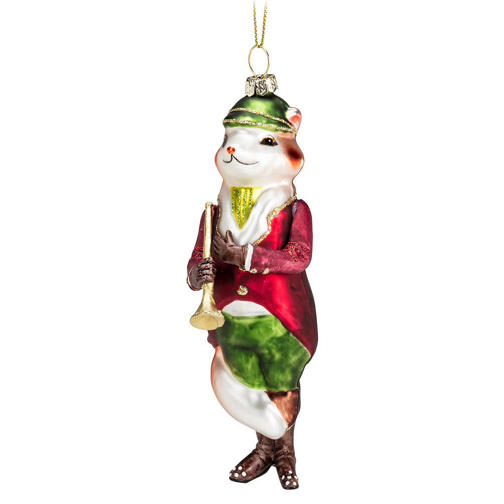 Fox in Hunting Suit Glass Ornament