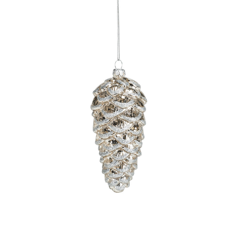 Silver Glitter Pinecone Ornament