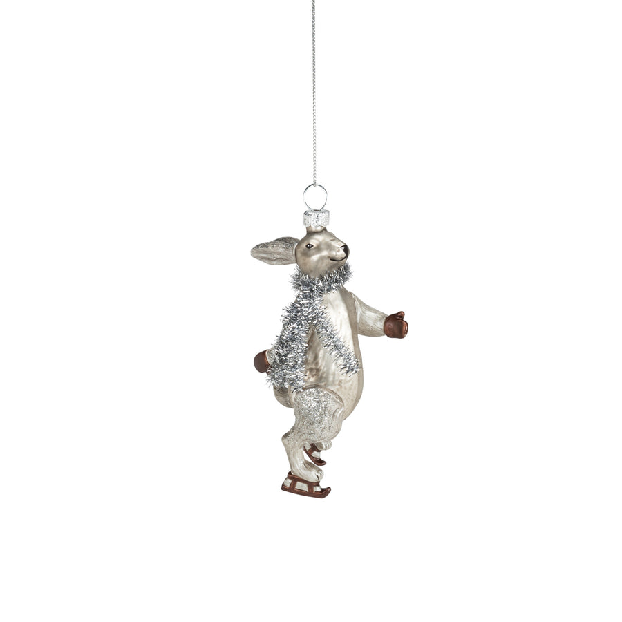 Skating Rabbit Glass Ornament