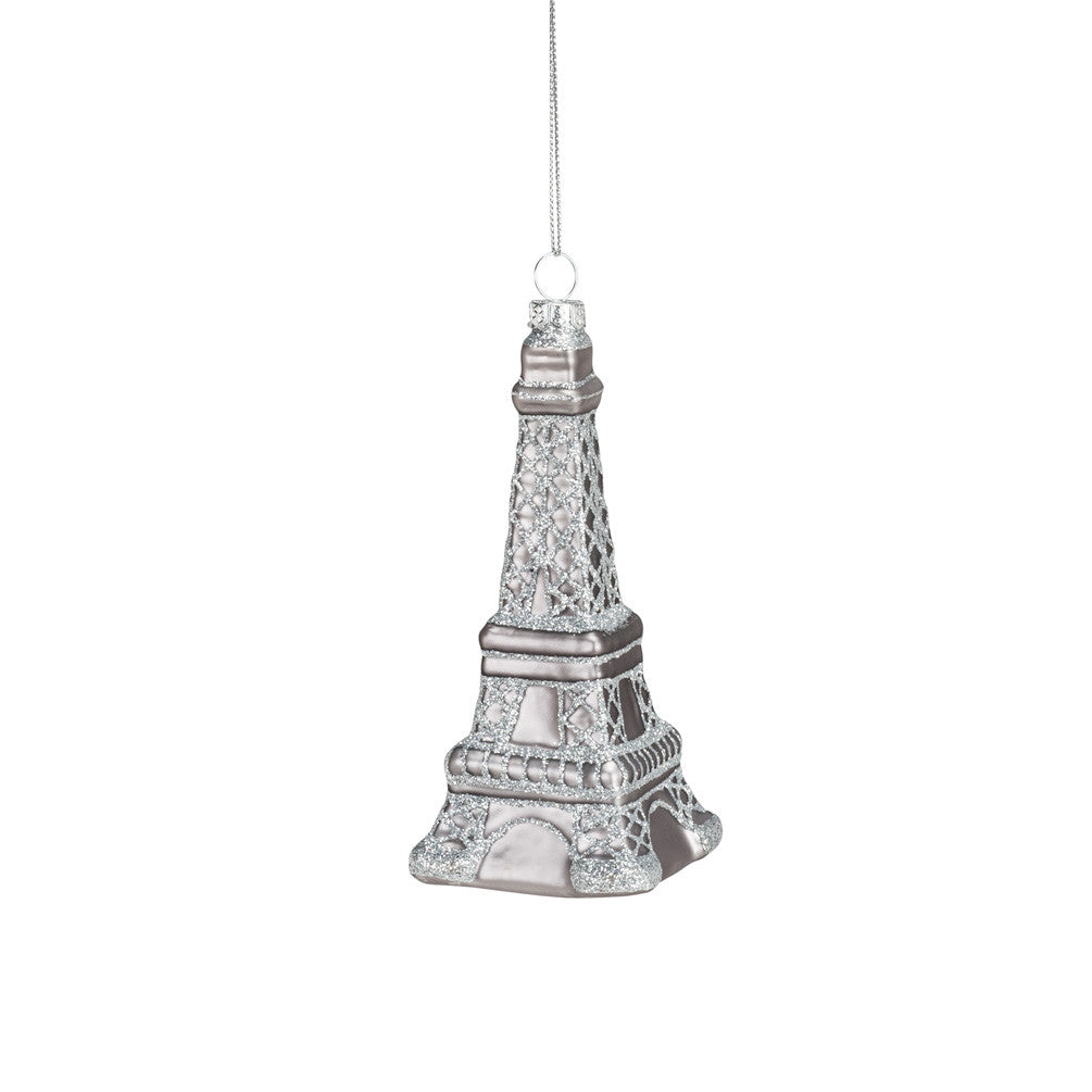 Silver Eiffel Tower Ornament -  Christmas Decorations - AC-Abbot Collection - Putti Fine Furnishings Toronto Canada