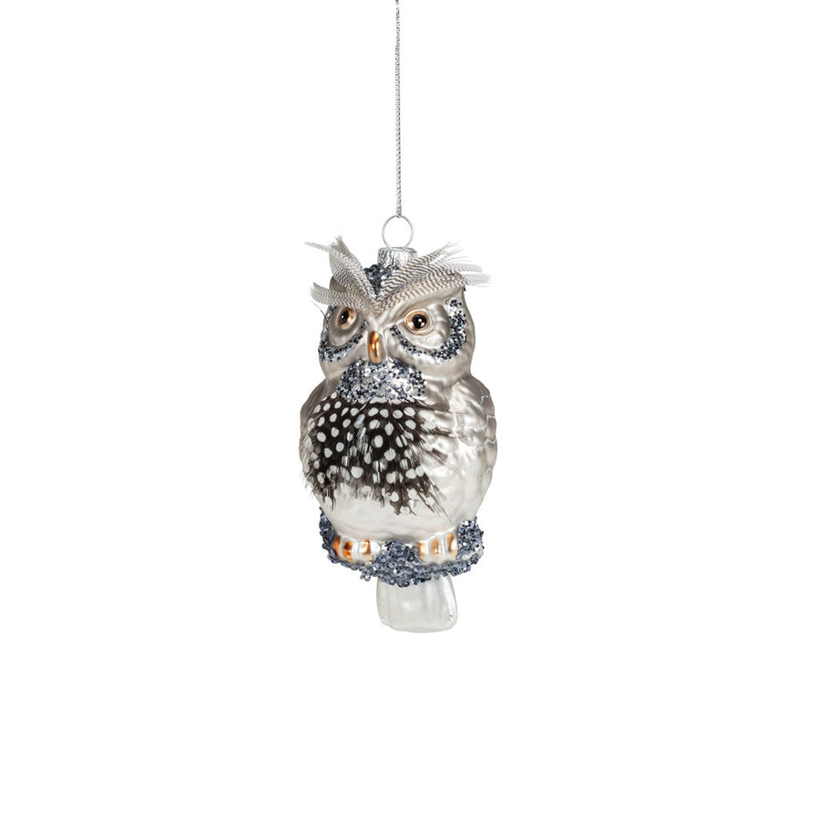 Owl Ornament with Feathers