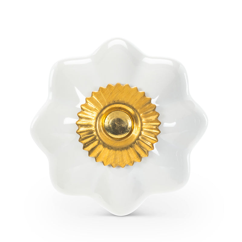 Pumpkin Knob White & Gold  | Putti Fine Furnishings Canada
