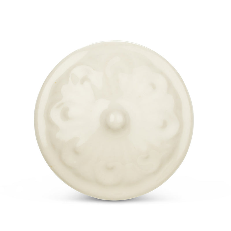 White Embossed Design Drawer Knob | Putti Fine Furnishings Canada