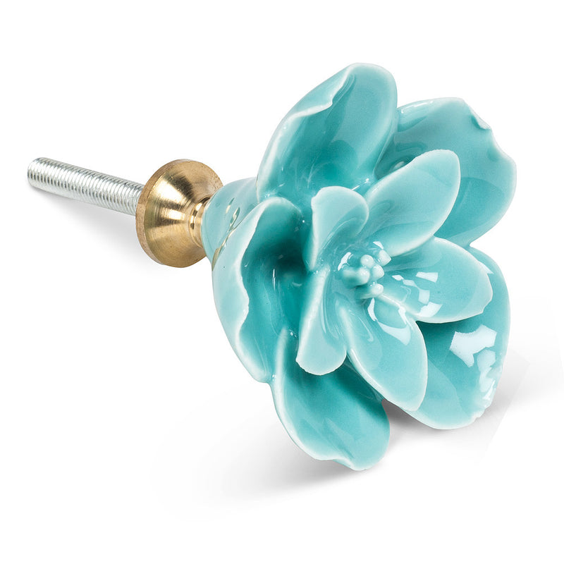 Blue Ceramic Sculpted Flower Knob