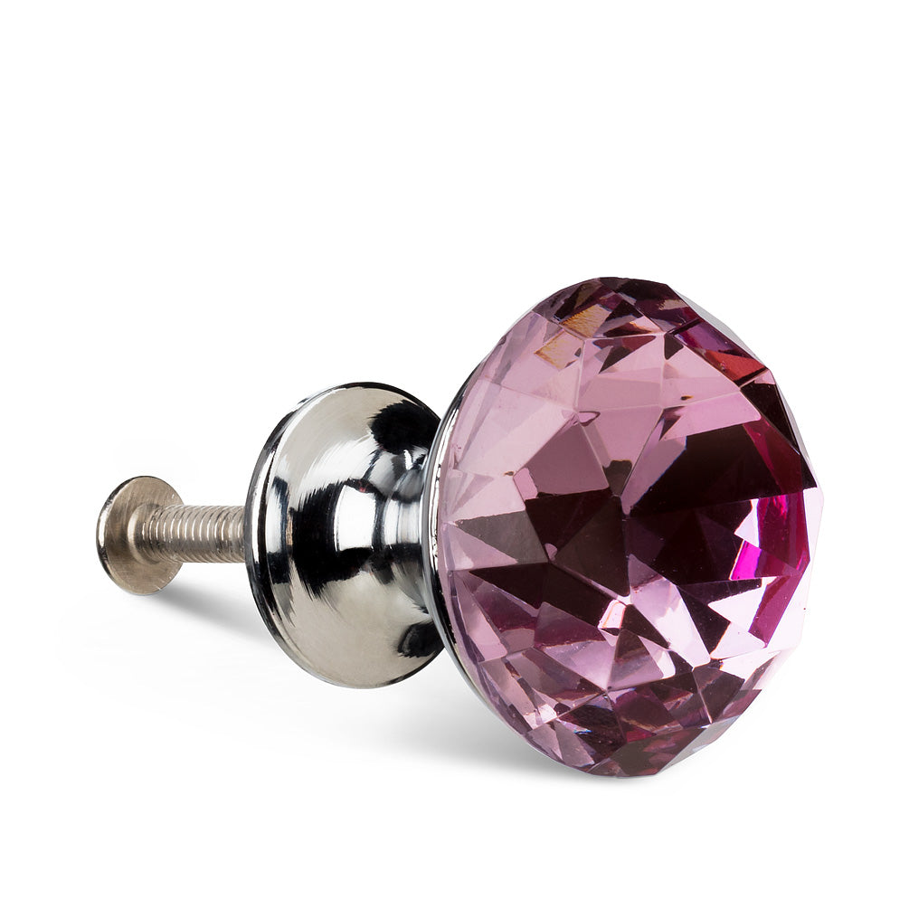 Pink Flat Cut Crystal Drawer Knob | Putti Fine Furnishings Canada