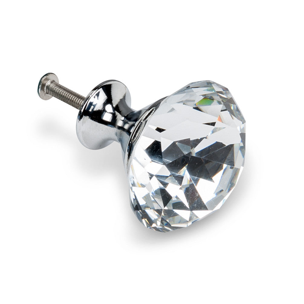 Flat Cut Crystal Knob - Large -  Hardware - Abbot Collection - Putti Fine Furnishings Toronto Canada
