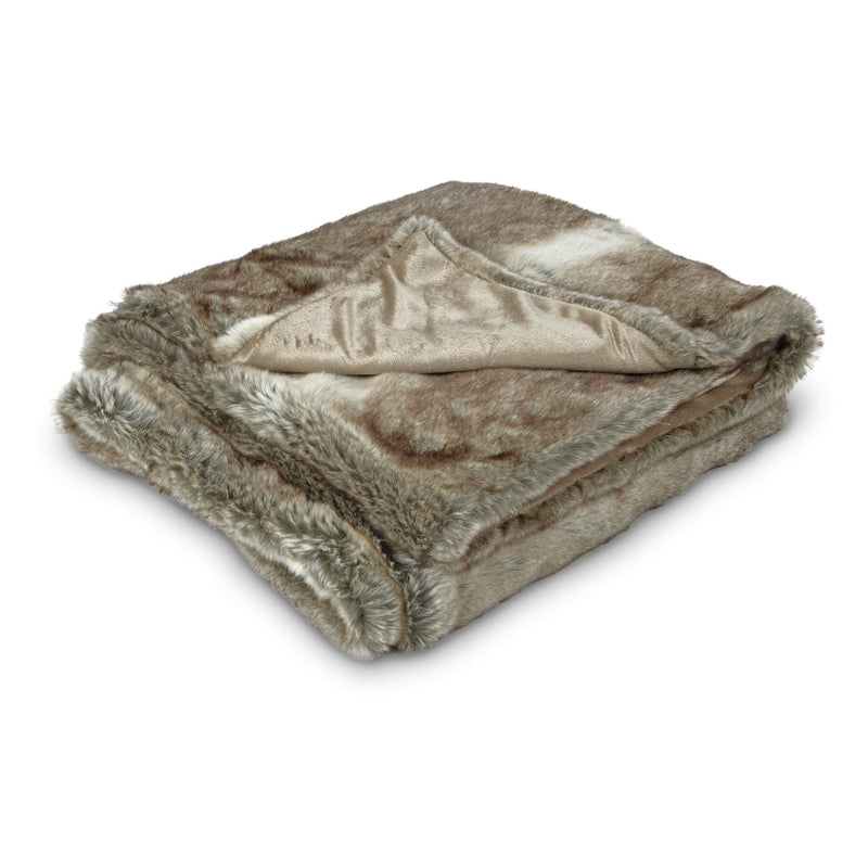 Faux Fur Throw - Tan, AC-Abbott Collection, Putti Fine Furnishings