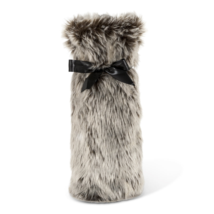 Faux Fur Bottle Bag - Grey
