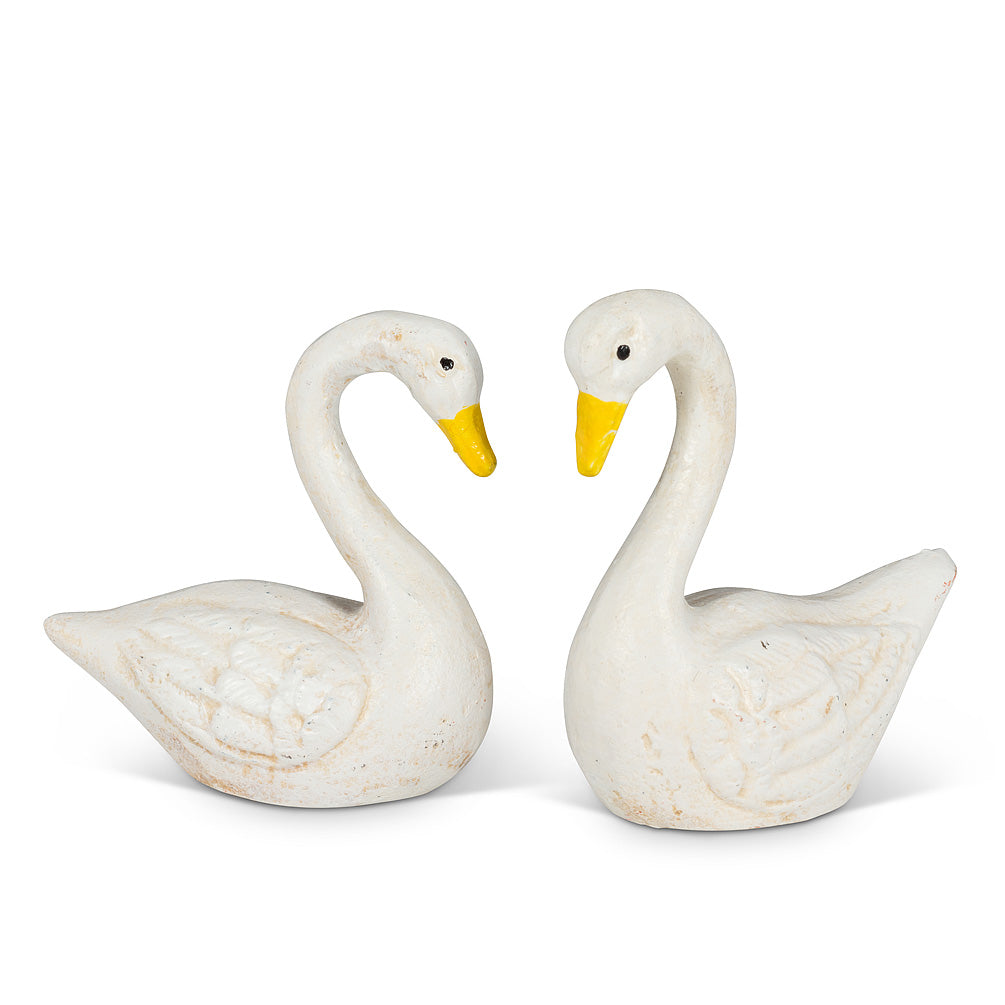 Small White Cast Iron Swans | Putti Fine Furnishings Canada