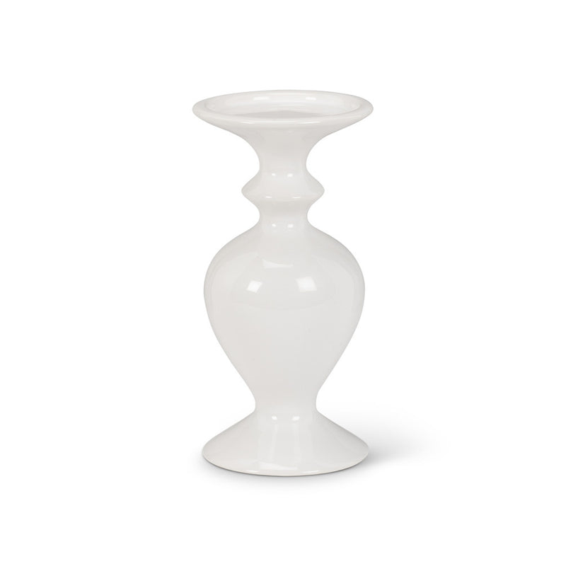 White Shapely Pillar Holder - Small -  Christmas - AC-Abbott Collection - Putti Fine Furnishings Toronto Canada - 1