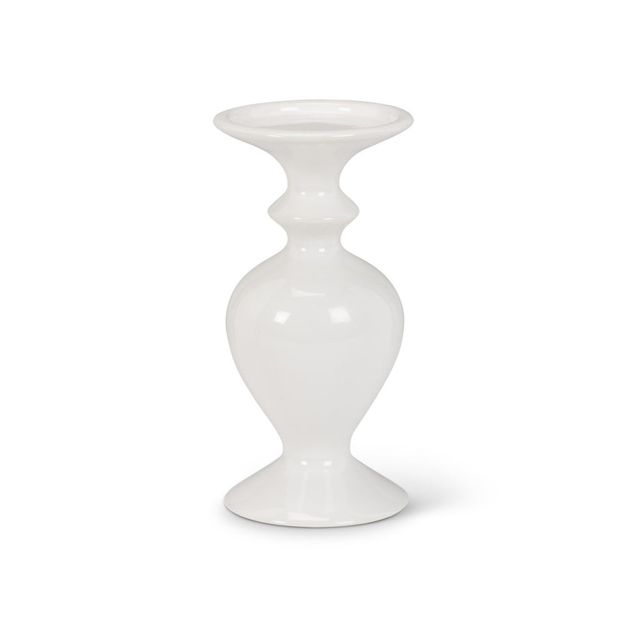 White Shapely Pillar Holder - Small