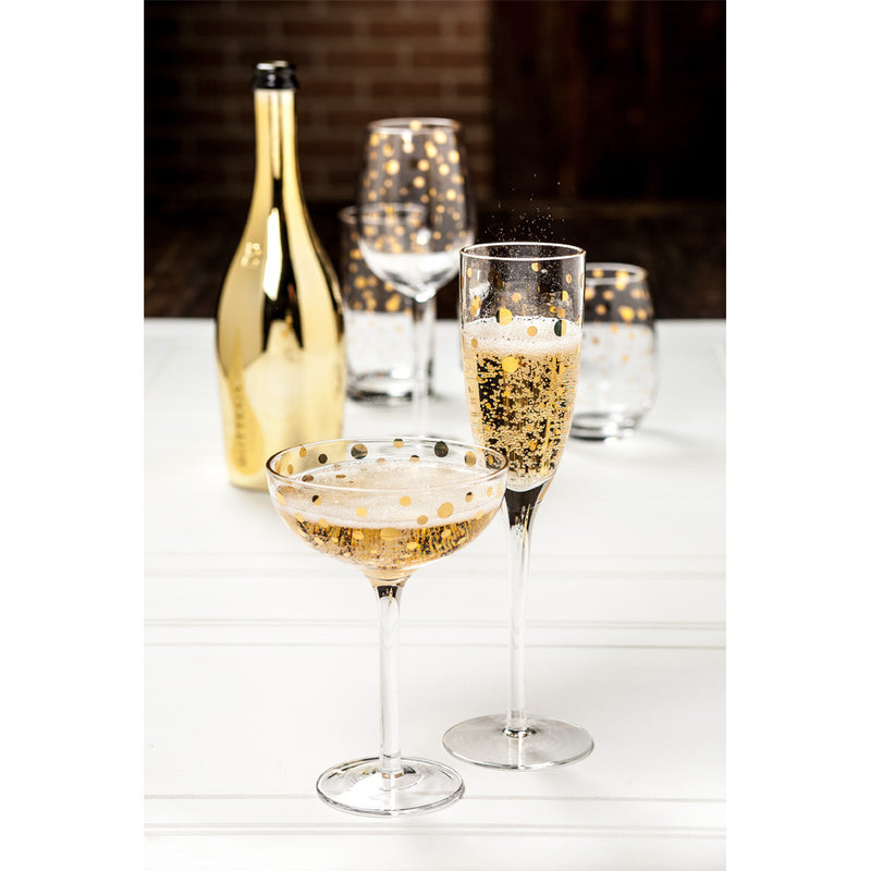 Flute Champagne with Gold Dots, AC-Abbott Collection, Putti Fine Furnishings