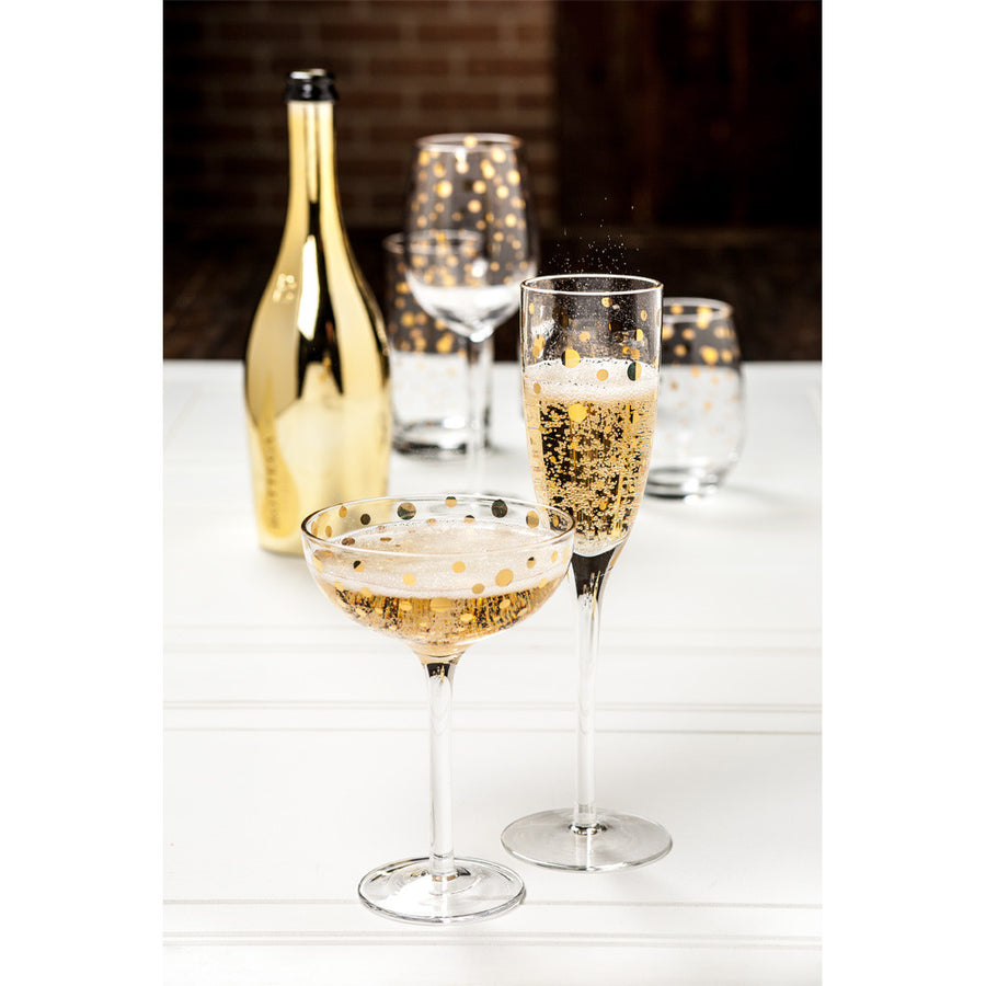 Flute Champagne with Gold Dots