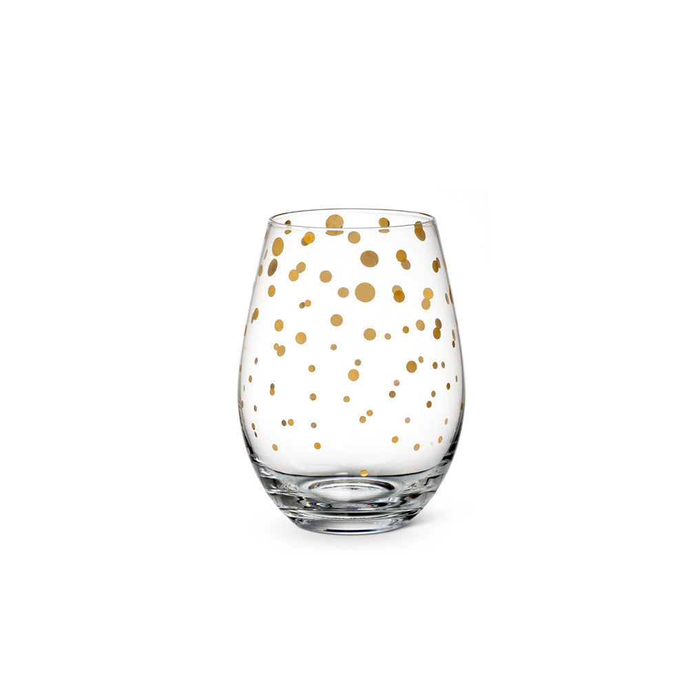 Stemless Goblet with Gold Dots -  Glassware - Abbot Collection - Putti Fine Furnishings Toronto Canada