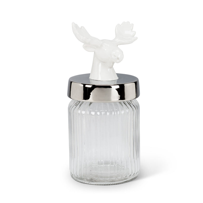 White Moose Top Glass Jar -  Christmas - AC-Abbot Collection - Putti Fine Furnishings Toronto Canada