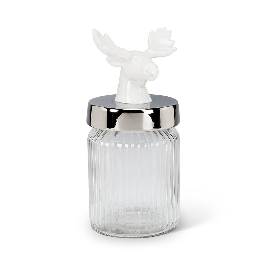 White Moose Top Glass Jar