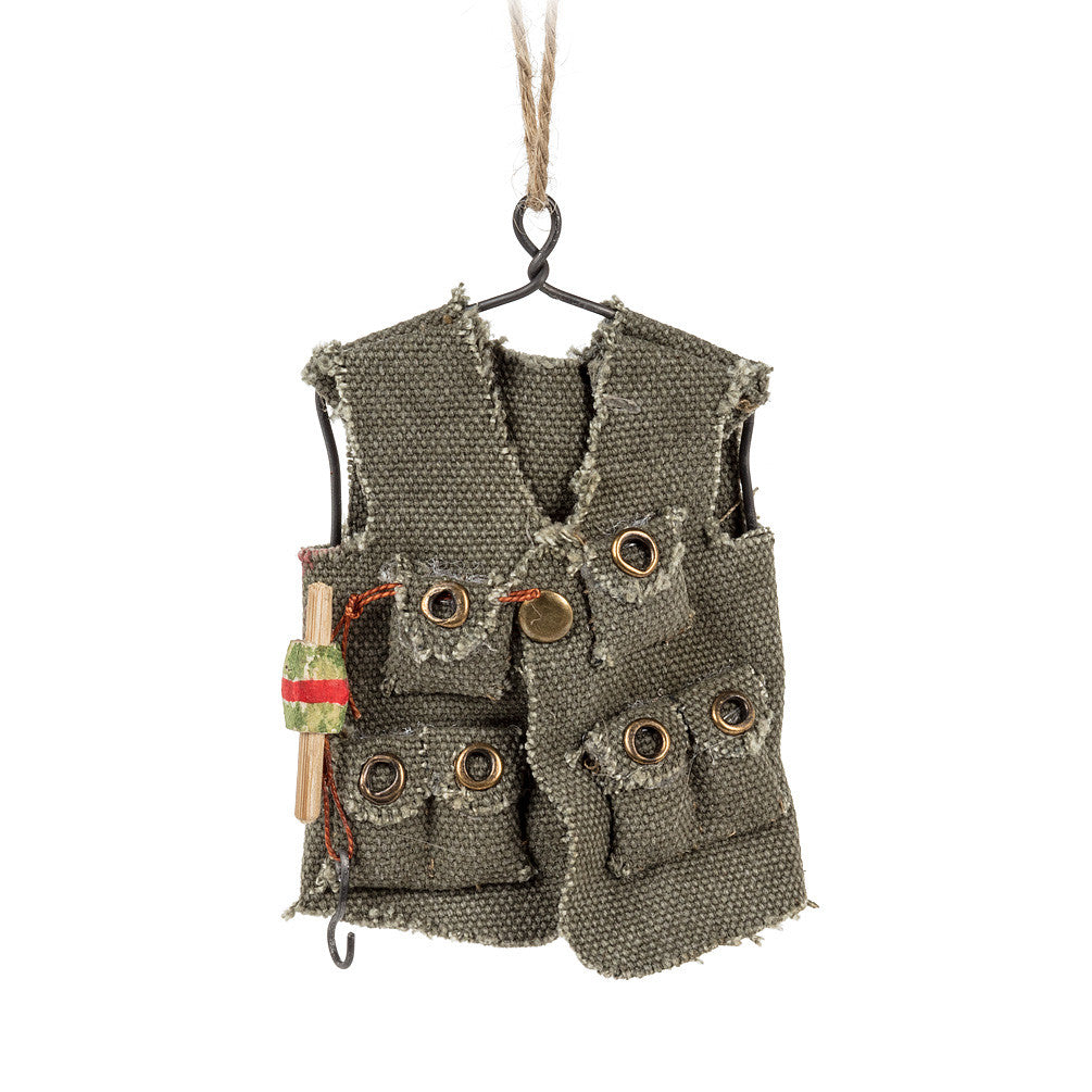 Fishing Vest Ornament, AC-Abbott Collection, Putti Fine Furnishings