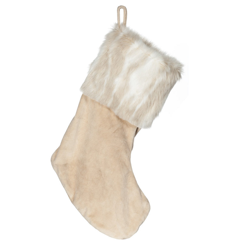 Beige Velvet Stocking with Fur Cuff-Christmas-AC-Abbott Collection-Putti Fine Furnishings