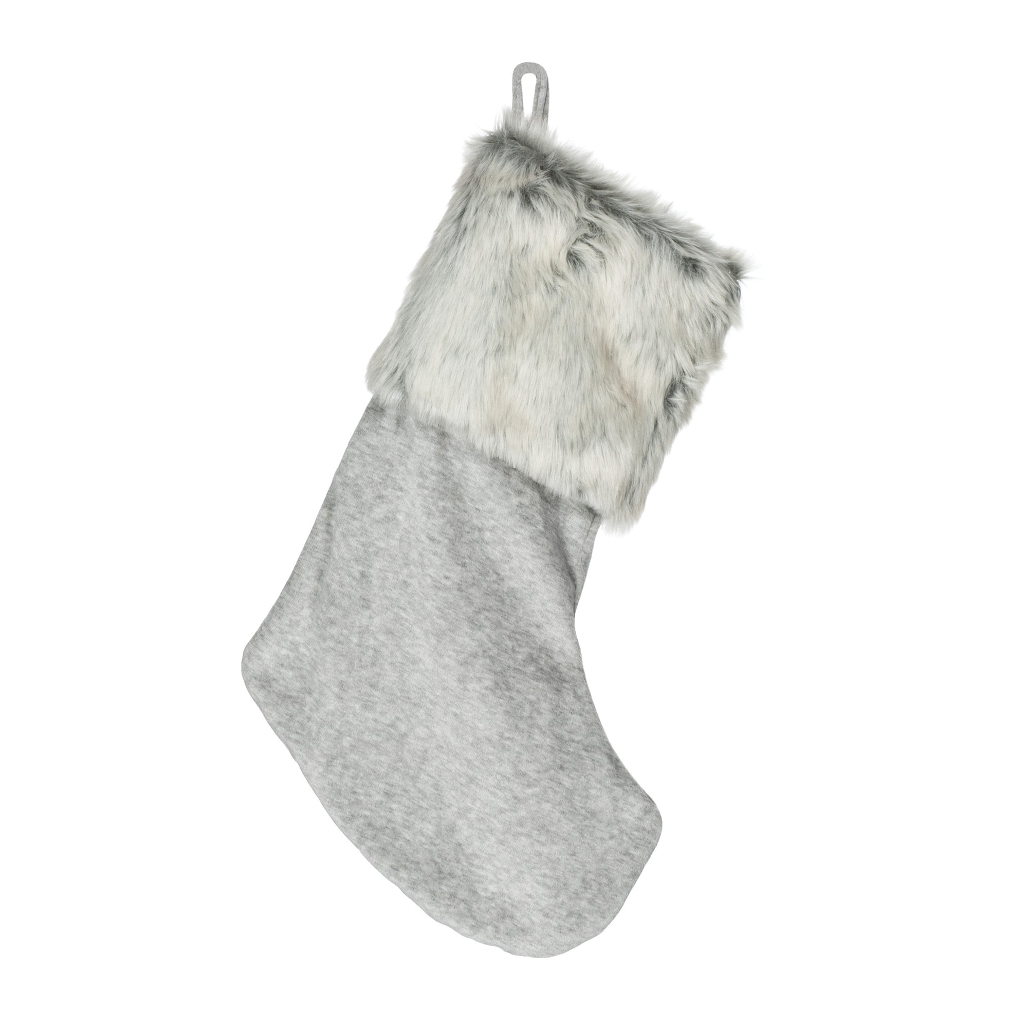 Grey Velvet Stocking with Fur Cuff, AC-Abbott Collection, Putti Fine Furnishings
