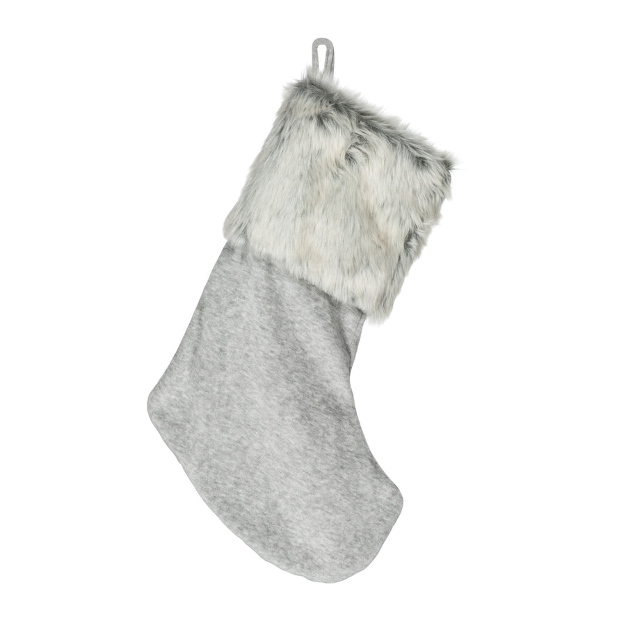 Grey Velvet Stocking with Fur Cuff