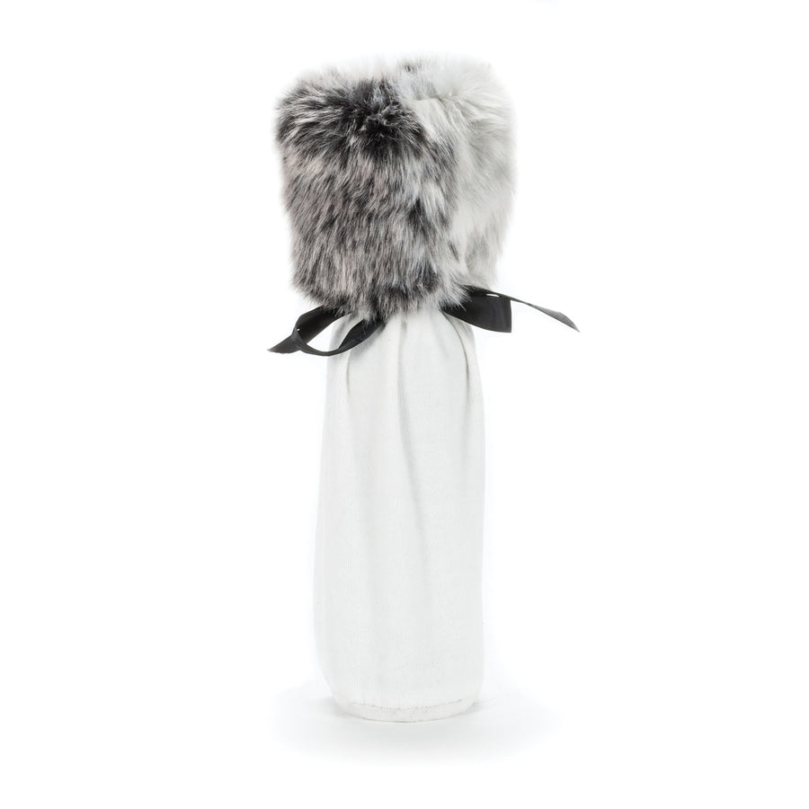 White Velvet Bottle Bag with Fur Cuff