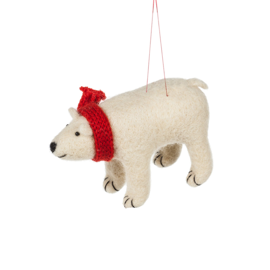 Polar Bear with Red Scarf Felted Ornament
