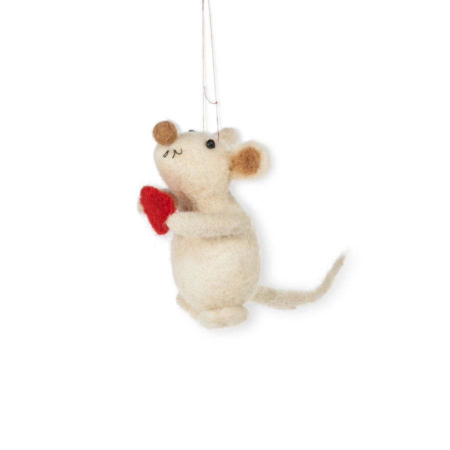 Mouse with Heart Felted Ornament
