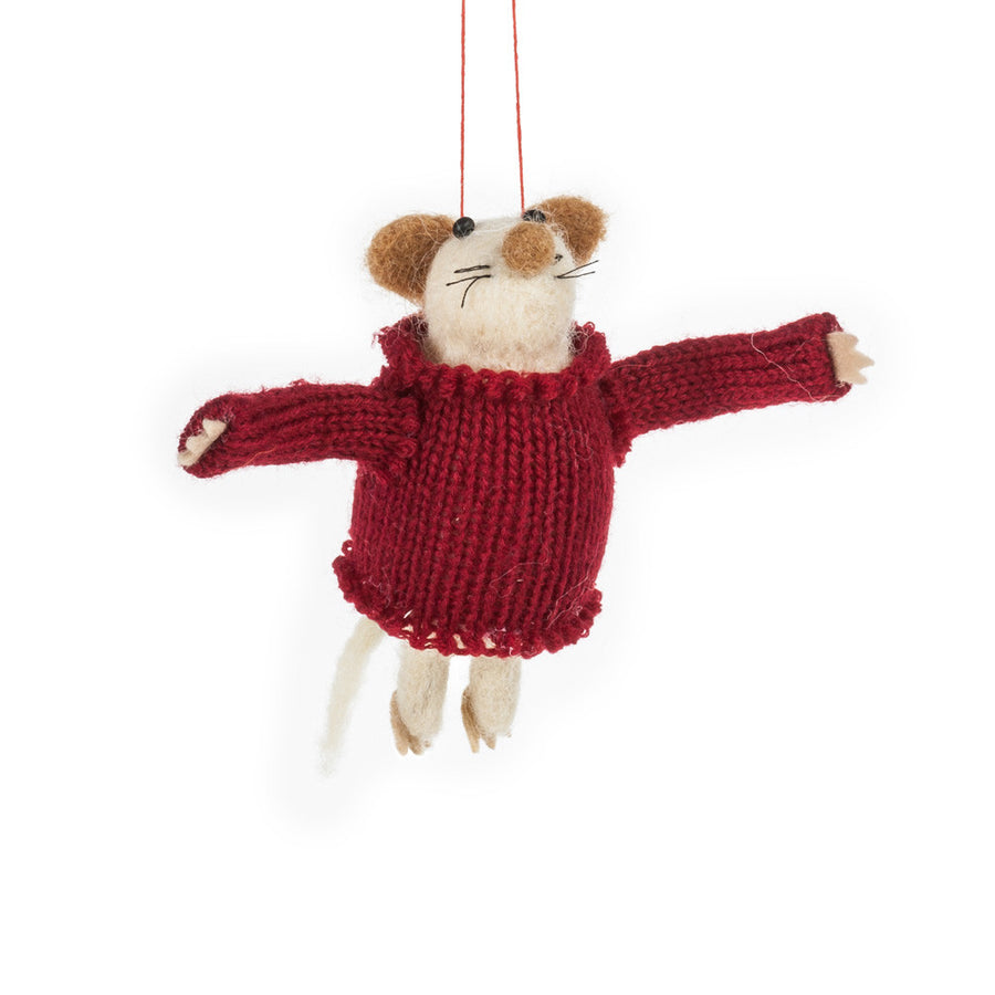 Mouse in Sweater Felted Ornament