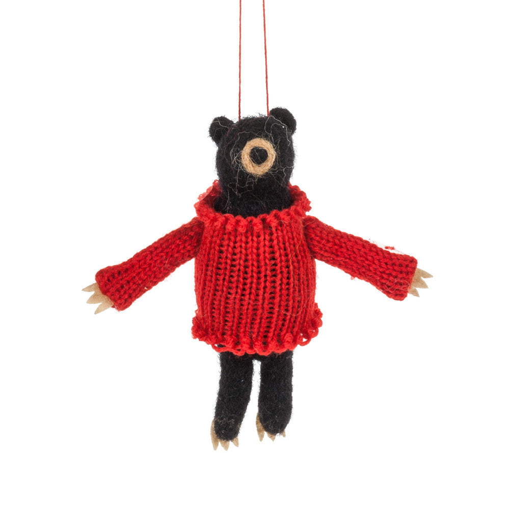 Black Bear in Sweater Felted Ornament -  Christmas - AC-Abbot Collection - Putti Fine Furnishings Toronto Canada