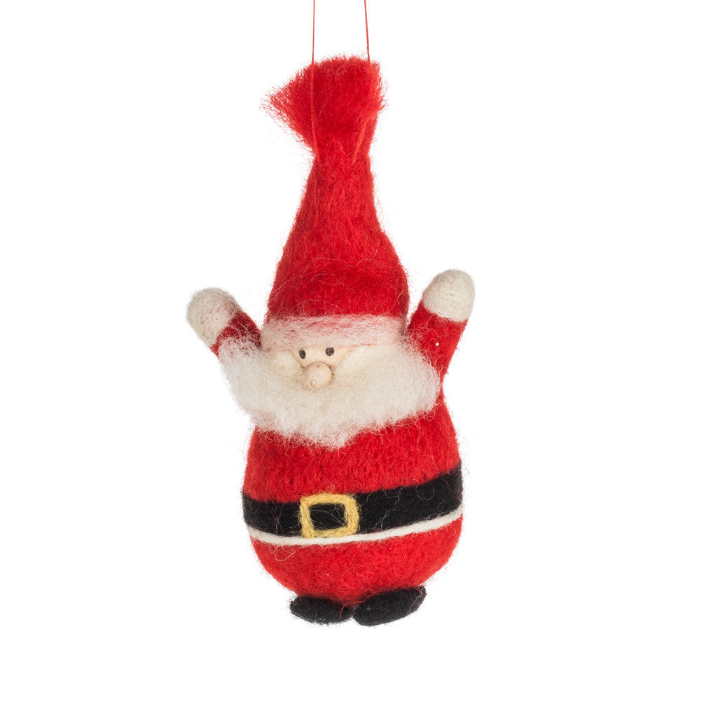 Red Santa Felted Ornament -  Christmas - AC-Abbot Collection - Putti Fine Furnishings Toronto Canada