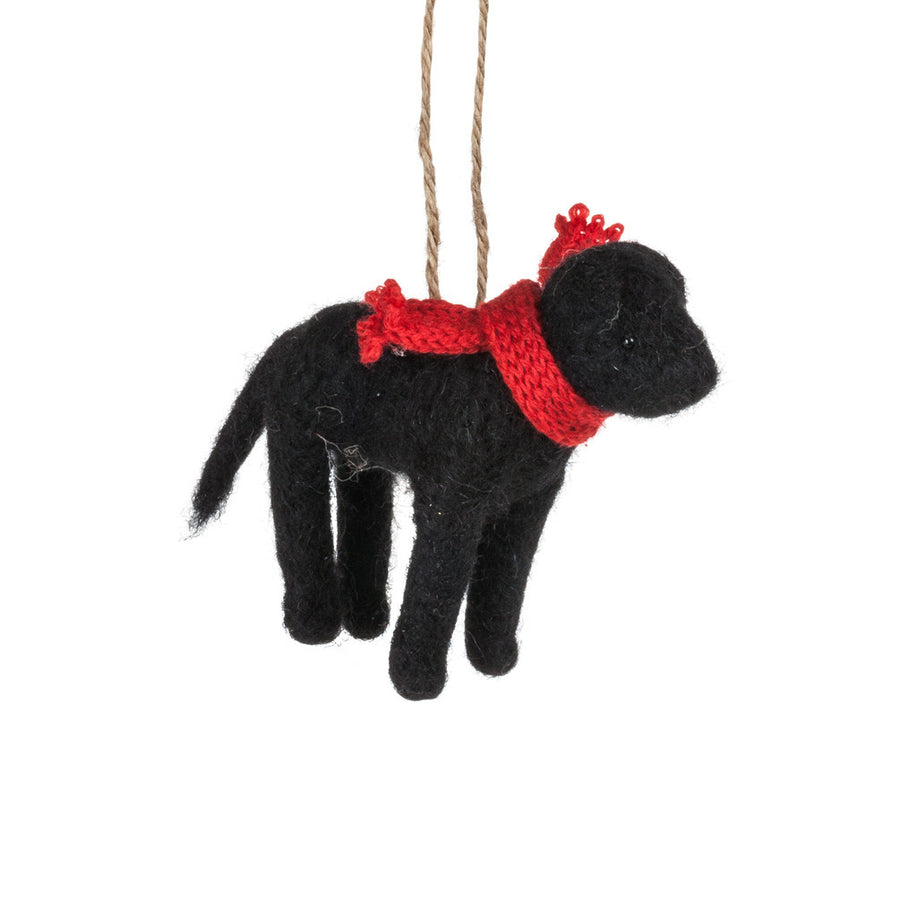Black Dog with Scarf Felted Ornament