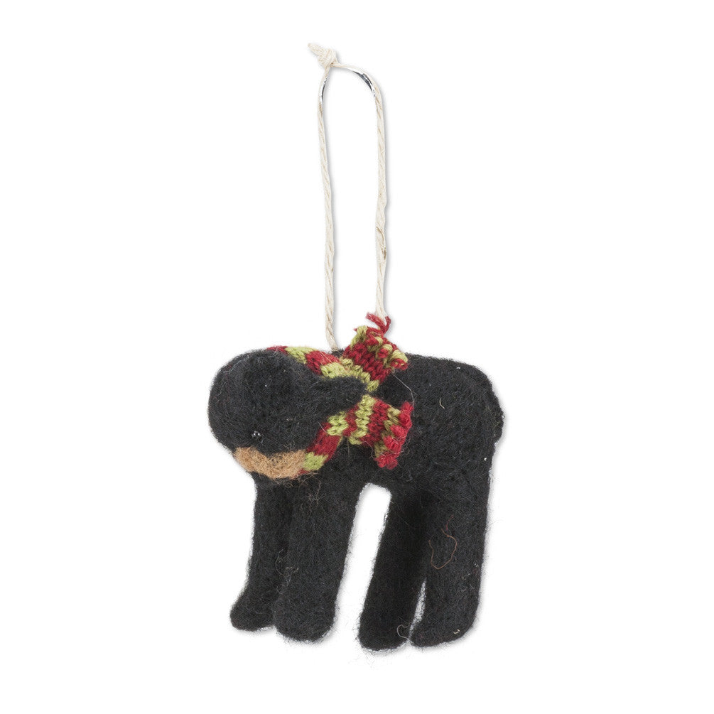 Bear with Striped Scarf Felted Ornament -  Christmas - AC-Abbot Collection - Putti Fine Furnishings Toronto Canada - 1