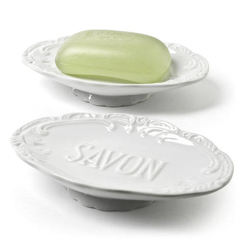 """Savon"" Embossed Soap Dish-Bathroom Accessories-AC-Abbott Collection-Putti Fine Furnishings"