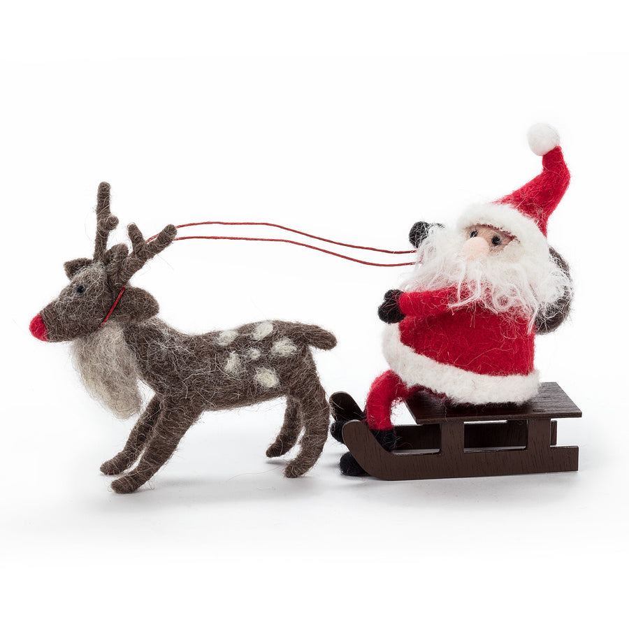 Santa with Deer – Set of 3
