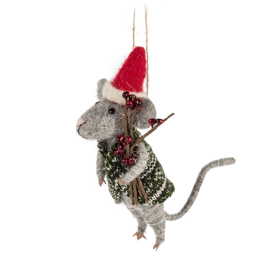 Mouse in Santa Hat and Sweater Ornament