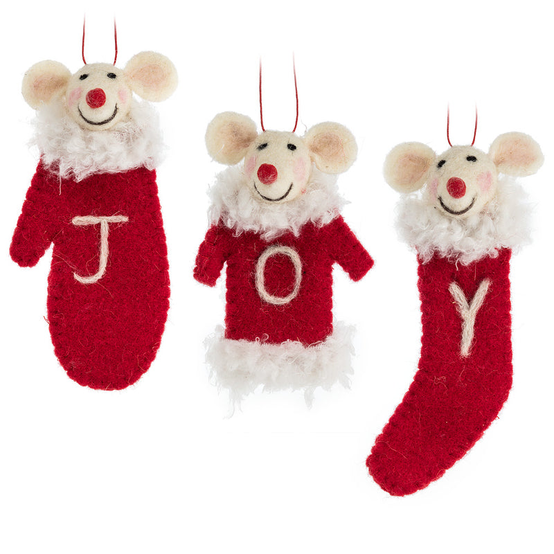 J.O.Y. Stocking Mice Ornaments – Set of 3