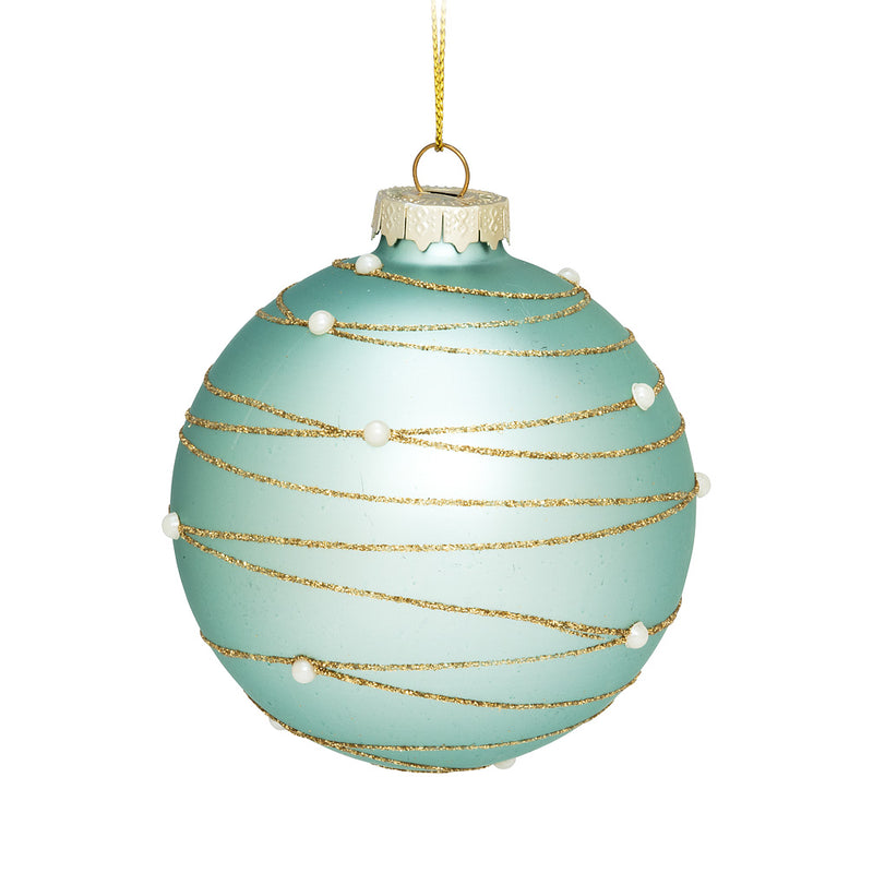 Aqua Spiral and Pearl Ball Christmas Ornament